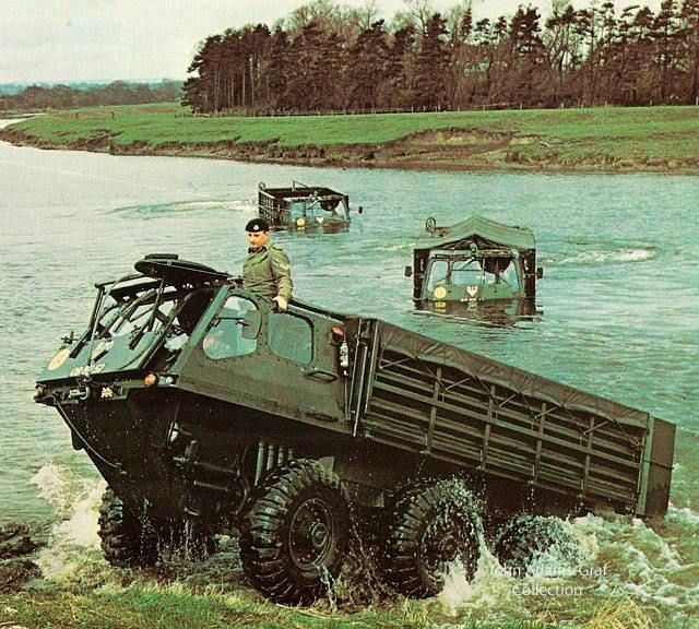 Alvis Stalwart's on a river crossing in Germany