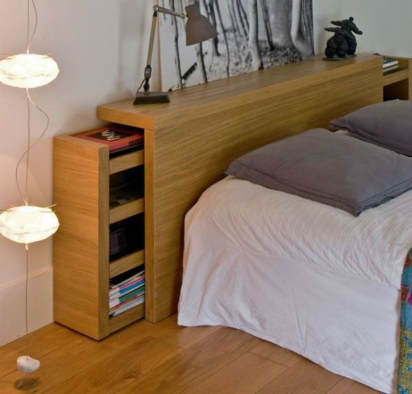 A headboard with storage space
