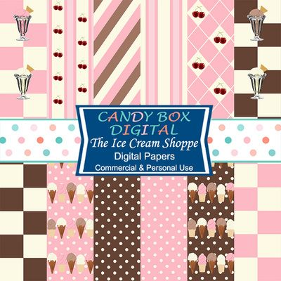 Retro Ice Cream Shoppe Digital Papers by Candy Box Digital. Fun, retro papers with the feel of  and olde time ice cream parlor. Done in tones of chocolate, strawberry and vanilla ice cream. Great for invitations, cards, blog and web page backgrounds, scrapbooks and journals.