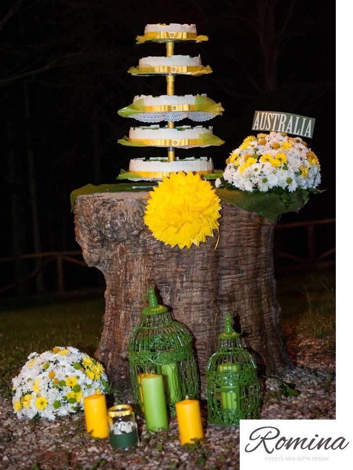 Green ang Yellow wedding cake