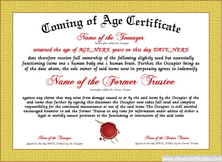 Coming of Age Certificate Designer #Free #certificate templates - certificate of ownership template
