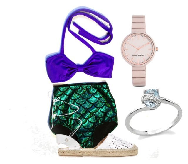 ariel bikini by alexis41402 on Polyvore featuring polyvore moda style Maiden Lane Nine West Disney fashion clothing