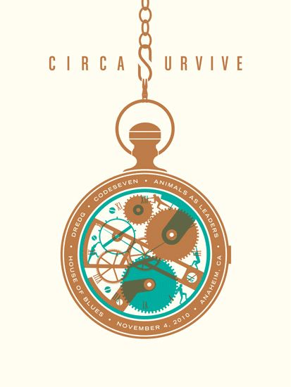 DKNG, circa survive, band poster, house of blues, teal, brown, clock, timepiece