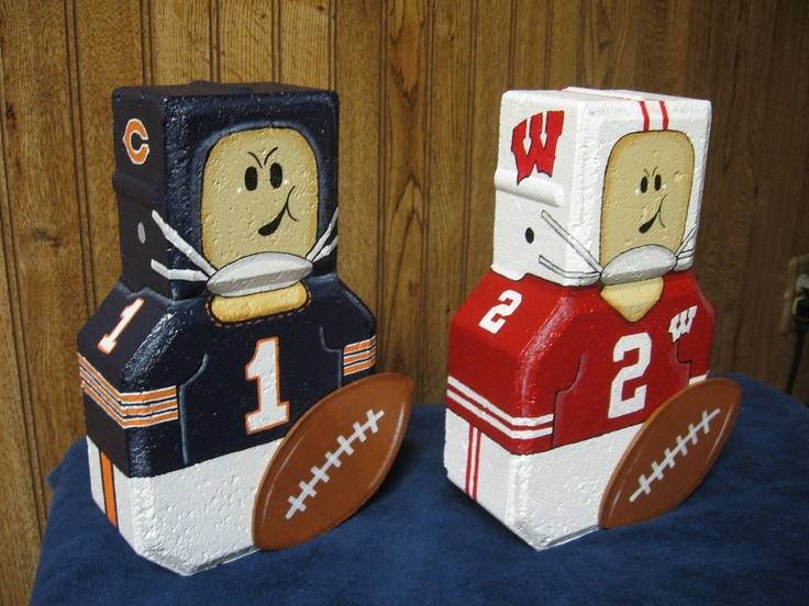 football players pavers-no links--I MADE SOME OF THESE--USED A BALLOON TO MAKE A PAPER MACHE HELMET BUT I LIKE THESE BETTER AND THEY LOOK WAY EASIER!