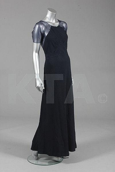 Jean Patou navy cloqué silk evening gown, early 1930s, Kerry Taylor Auctions