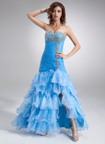 Prom Dresses - $168.99 - Trumpet/Mermaid Sweetheart Floor-Length Organza Satin Prom Dress With Beading Split Front Cascading Ruffles (018016726) http://jjshouse.com/Trumpet-Mermaid-Sweetheart-Floor-Length-Organza-Satin-Prom-Dress-With-Beading-Split-Front-Cascading-Ruffles-018016726-g16726