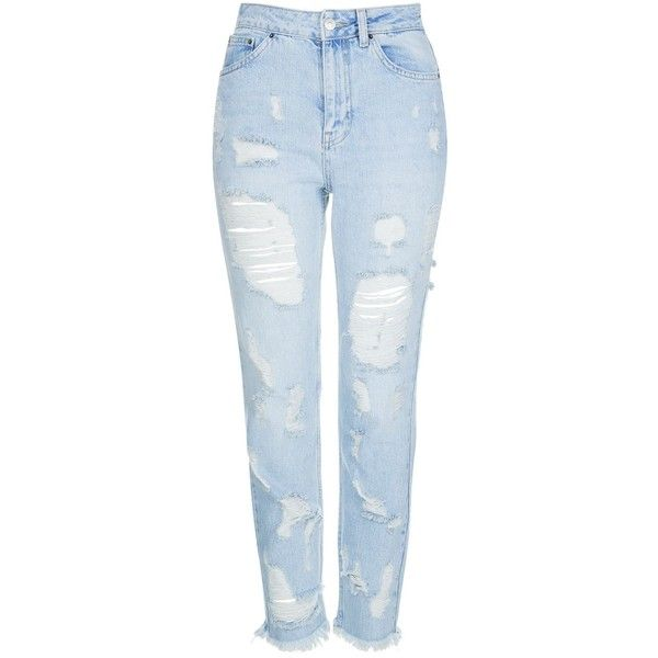 Topshop Moto Extreme Ripped Bleach Mom Jeans (€27) ❤ liked on Polyvore featuring jeans, pants, bottoms, pantalones, bleach, high waisted distressed jeans, high waisted ripped jeans, high rise jeans, high-waisted skinny jeans and blue skinny jeans
