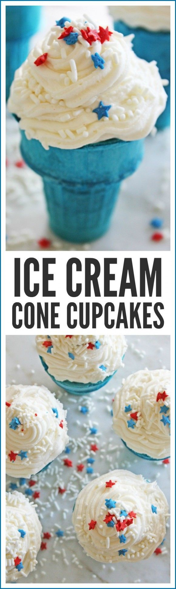 Patriotic Ice Cream Cone Cupcakes. These are the perfect dessert for your July 4th parties and BBQ. Great for kids! | CatchMyParty.com
