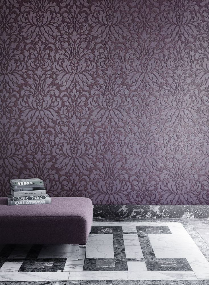 Elegant Wallpaper Design Featuring A Grand Damask Pattern, With Glitter  Detailing.