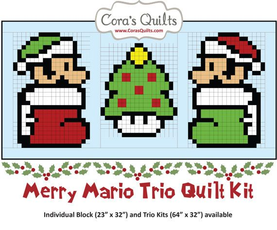 Merry Mario Christmas Nintendo Trio Quilt  Fabric by CorasQuilts
