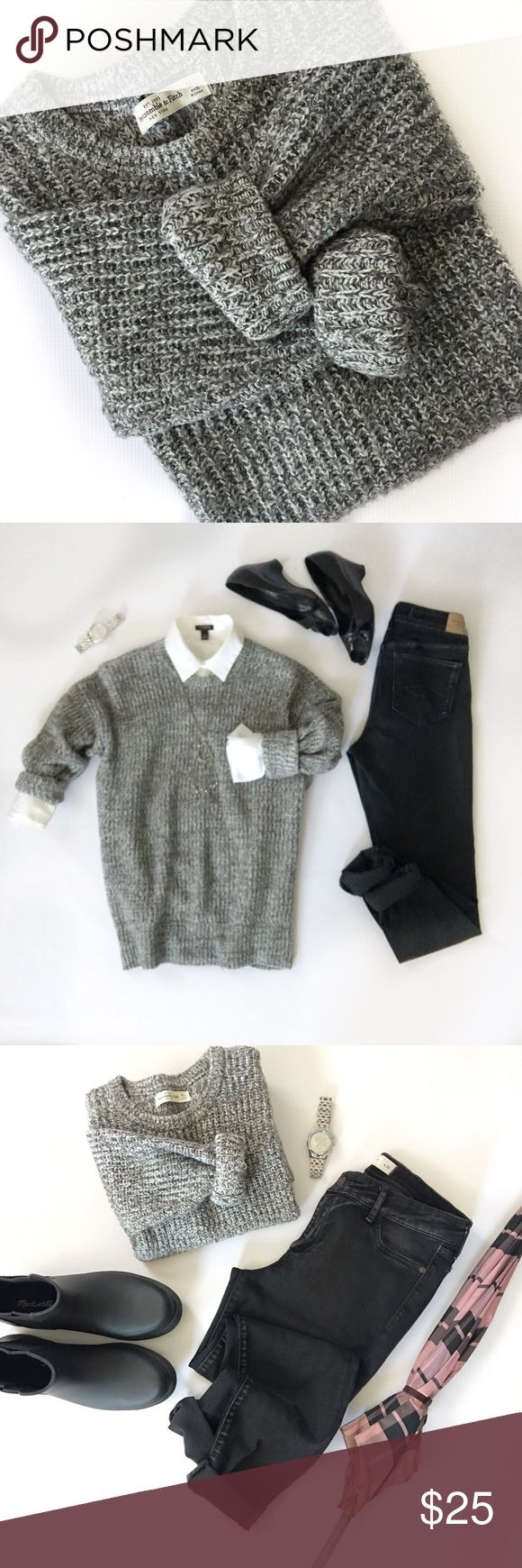 A&F Marled Sweater This beautiful black and white marled sweater is so soft and comfortable and has a nice amount of stretch. Excellent pre-loved condition. Pet free/Smoke free. Abercrombie & Fitch Sweaters Crew & Scoop Necks