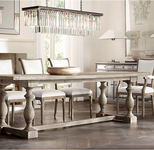RH's 17th C. Priory Rectangular Dining Table :Popularized during the Middle Ages, the trestle is one of the oldest known dining table designs. Our version is scaled down for smaller spaces with a long top and substantial baluster legs that recall the tables found in 17th-century monasteries.