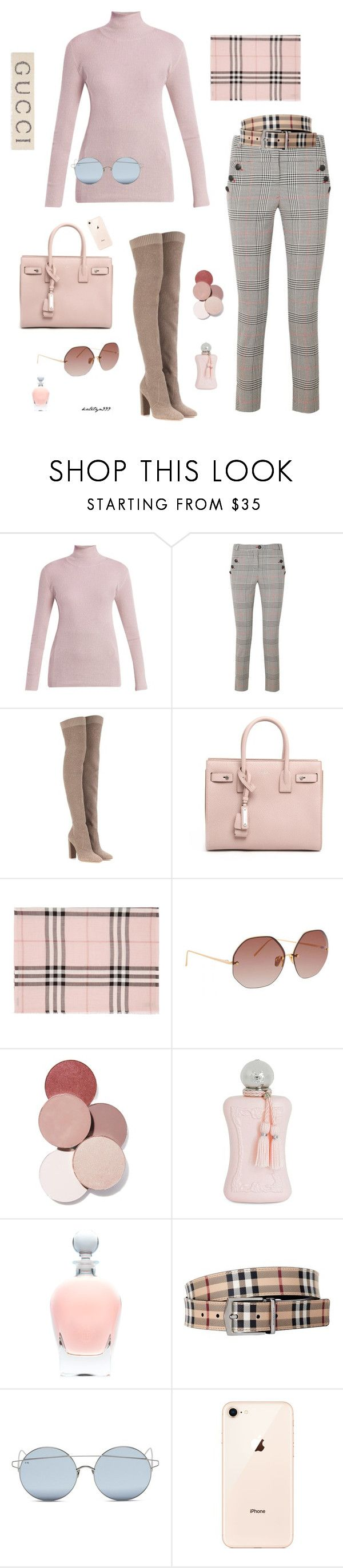 """""""Feminine & beautiful..."""" by katelyn999 ❤ liked on Polyvore featuring Prada, Veronica Beard, Gianvito Rossi, Yves Saint Laurent, Burberry, Linda Farrow, LunatiCK Cosmetic Labs, Parfums de Marly, For Art's Sake and Gucci"""