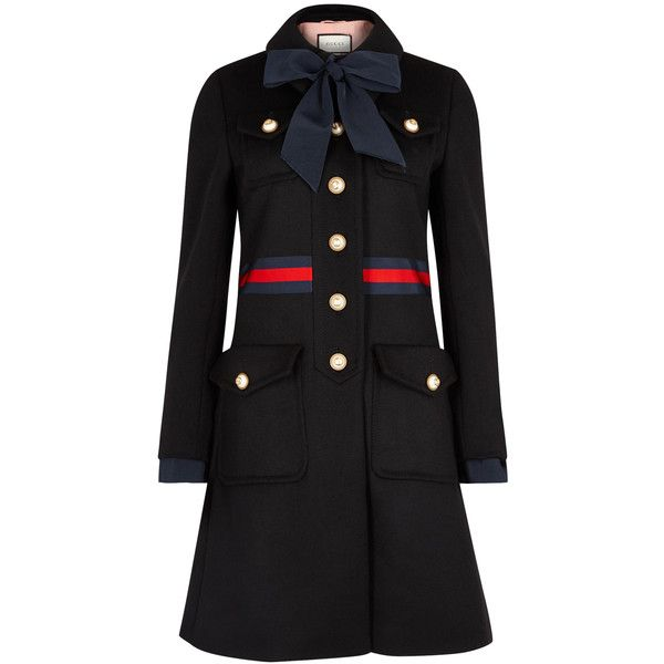 Gucci Black bow-embellished wool coat ($2,405) ❤ liked on Polyvore featuring outerwear, coats, striped necktie, leather-sleeve coats, gucci, gucci coat and neck-tie