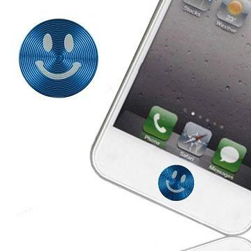 Smiley Aluminium Hjem Knapp klistremerke for Apple iPhone, iPod, iPad (Blå)