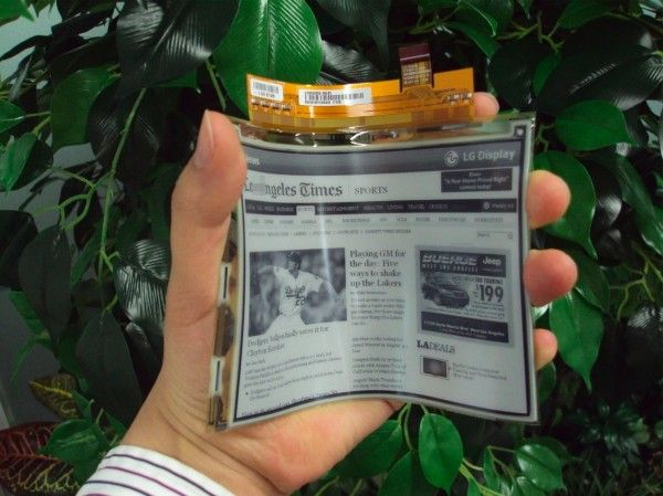 Flexible e-paper by LG. Soon the cool concepts we've been seeing on Minority Report and Harrry Potter will be in our very own hands too. Can't wait.
