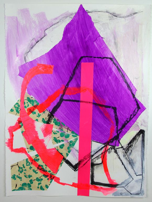 "Saatchi Online Artist: Pamela Staker; Assemblage / Collage, 2012, Mixed Media ""Abstract Study (purple)"""