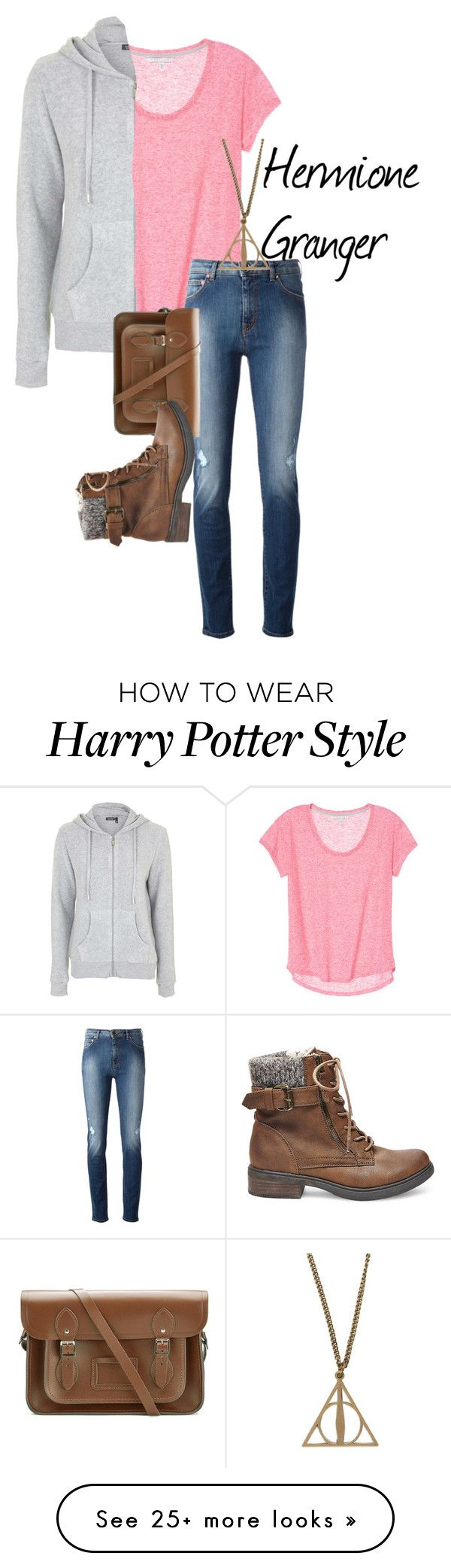 """""""Hermione Granger - Harry Potter"""" by ava-adams123 on Polyvore featuring Topshop, Moschino, The Cambridge Satchel Company, Steve Madden and harrypotter"""