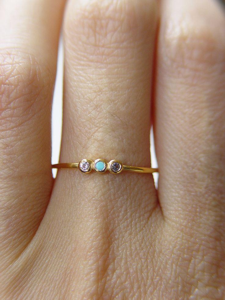 Triplet Turquoise Topaz Ring by Friedasophie - www.friedasophie.etsy.com