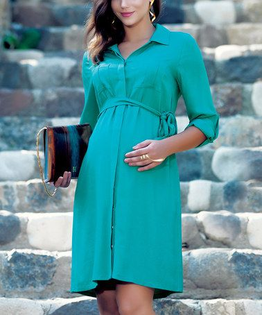Green Tie-Waist Maternity Button-Up Dress by Ebru Maternity on #zulily