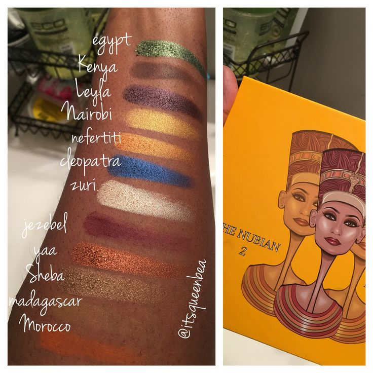 Nubian 2 Palette swatches on dark skin.  Juvia's Place. nubianpalette2 darkskin.brown girls. eyeshadow.