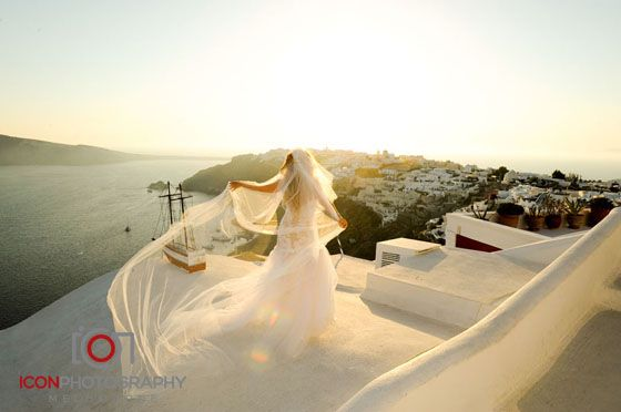 Bride - Sunset Landscape - Santorini Wedding Greece.