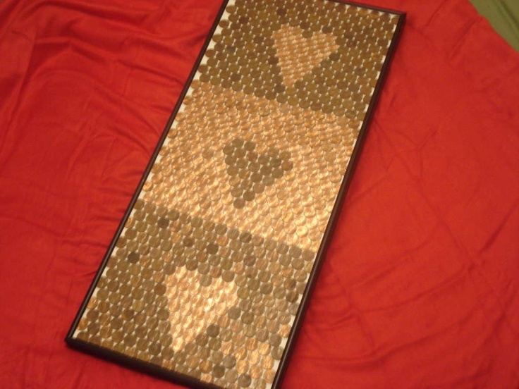 Three Hearts in pennies. #diy #crafts #cute