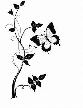 Résultat d'images pour Line Drawings of Flowers and Butterflies