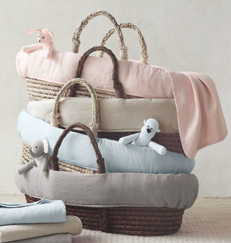 RH Baby U0026 Childu0027s Washed Organic Linen Moses Basket Bedding:Loomed From  Pure Organic Linen Thatu0027s Been Washed For Extra Softness, Our Washed  Organic Linen ...