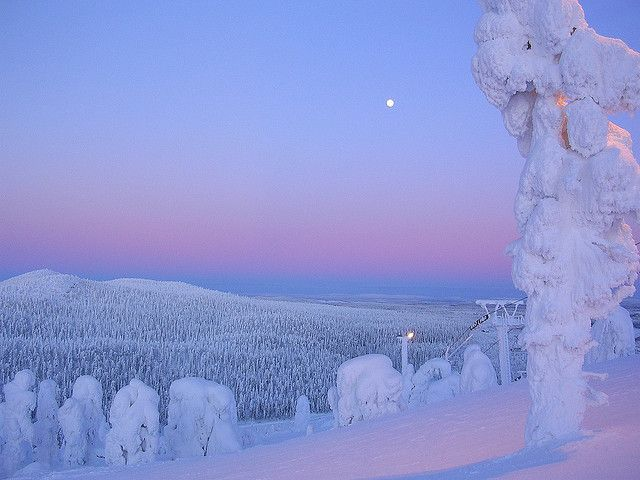 Ruka in Finland magical hour - The ice face sunset by debzlucy, via Flickr