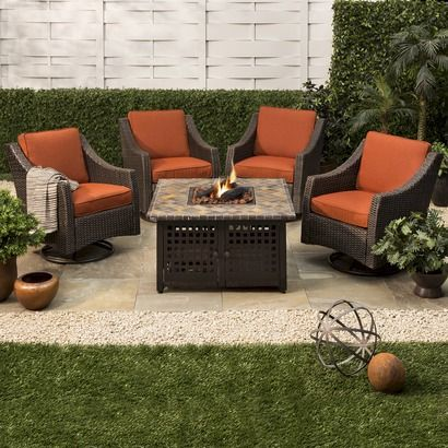 Belvedere 5 Piece Wicker Fire Pit Set For Home Pinterest Fire Pits The O 39 Jays And Fire