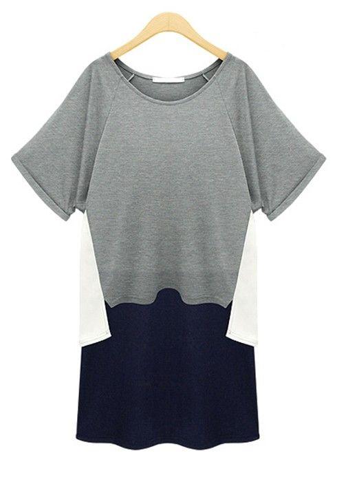 ++ Grey Patchwork Cotton Dress