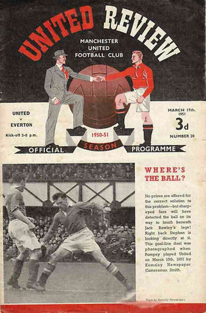 Man Utd 3 Everton 0 in March 1951 at Old Trafford. Programme cover #Div1