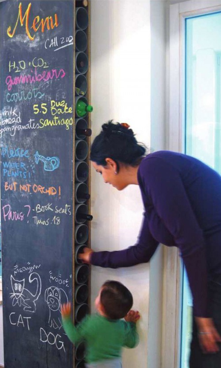 diy wine racks with chalkboard...dig the wine rack....could make lower sections for kids gear, etc.