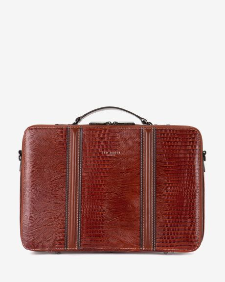 Exotic leather tablet bag - Dark Orange | Bags | Ted Baker