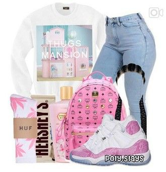 sweater pink mcm backpack thug life thugs mansion cookie and cream hershey light washed denim light blue jeans jordans strawberry and cream so cute cute white huff socks with hot  pink weed leaves huff huff socks hershey white baby blue shoes