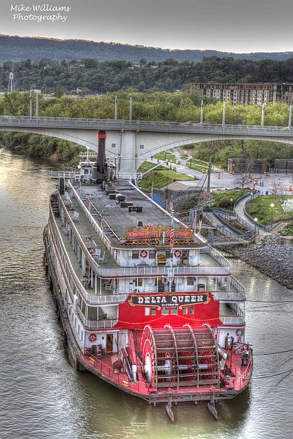 Delta Queen riverboat near the Market Street Bridge, Chattanooga   believe the Queen is now Hotel and Restaurant based in Chattanooga.