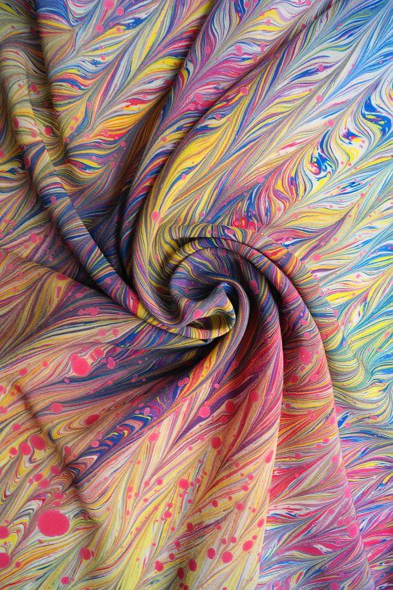 Silk Square Scarf, Marbled Silk Scarf, Handpainted Square Scarf,Hand-Painted Neckerchief, Multiolor Silk Scarf, Multicolor Silk Neckerchief