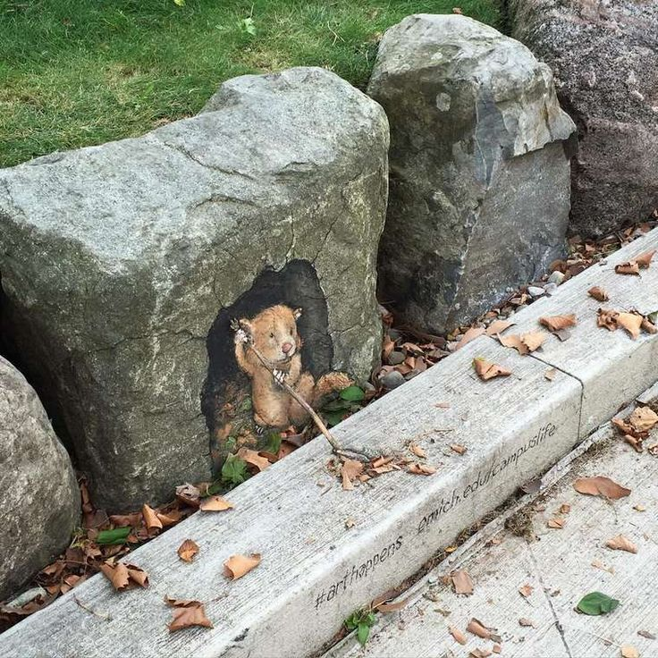 Street Art – Les dernières créations adorables de David Zinn (image)