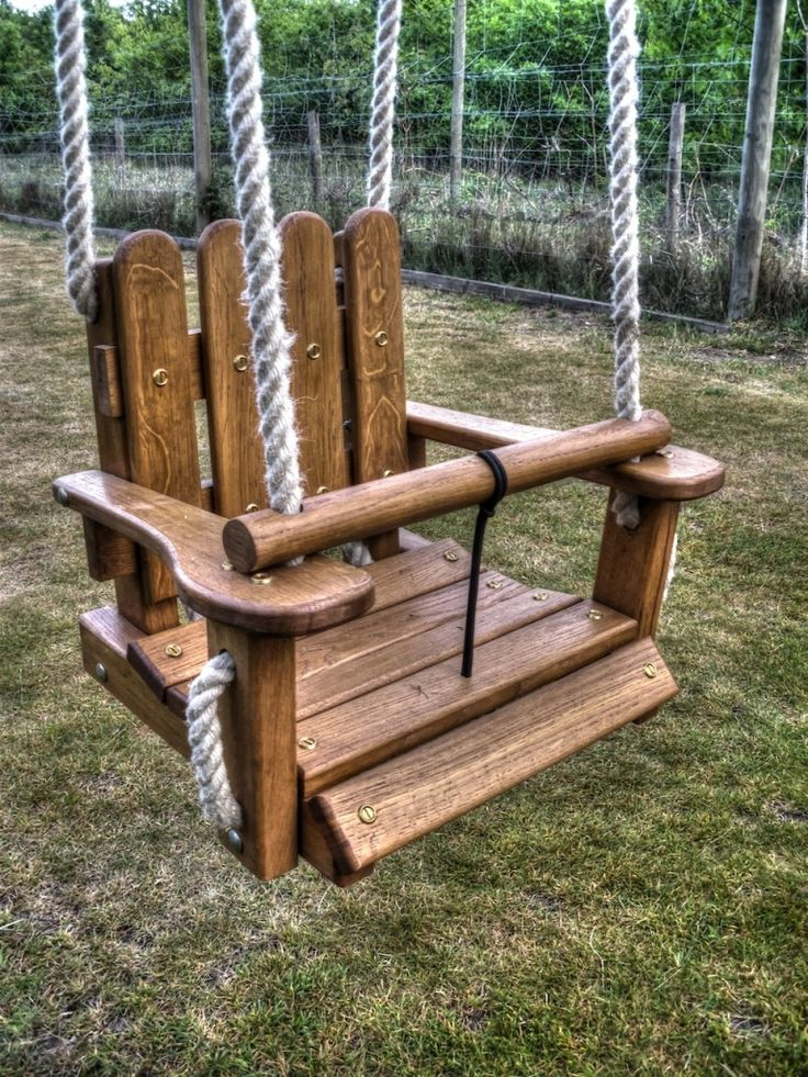 Baby swing close up (Wooden swings swing)