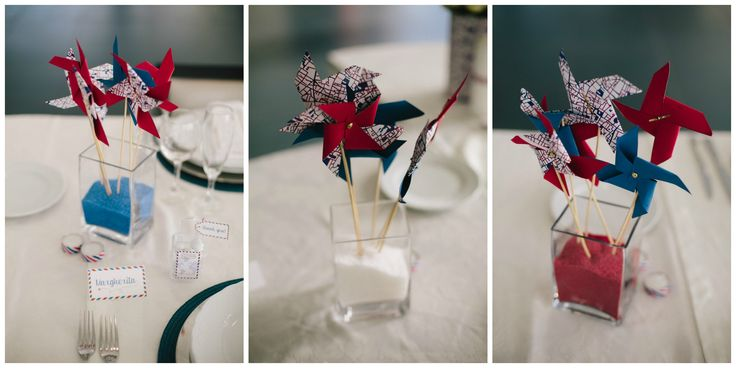 Paper DIY Wedding Party Centerpiece White Red Blue Air Mail