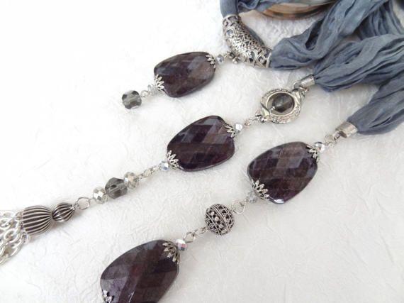 Dark Grey JewelryJewelry ScarfScarf by sevinchjewelry on Etsy