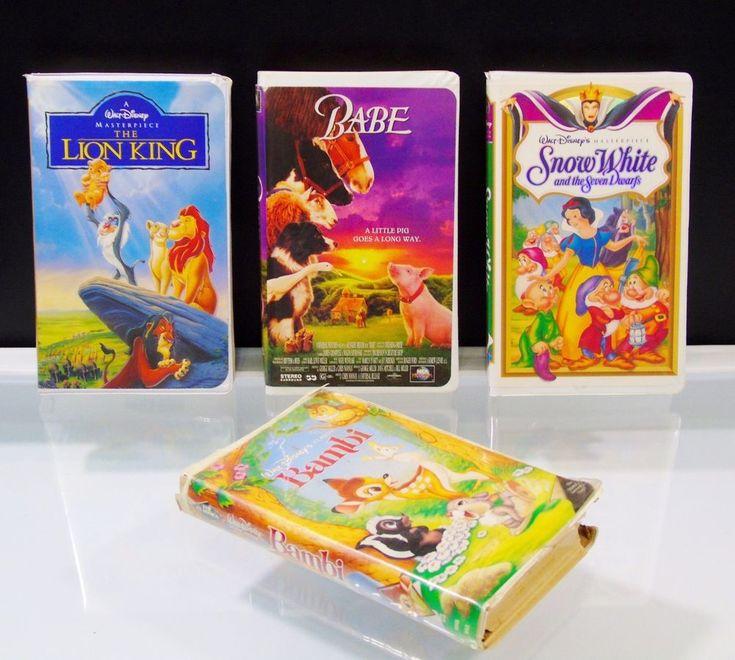 VHS Tapes Lot Walt Disney Bambi Snow White The Lion King Universal Studios Babe