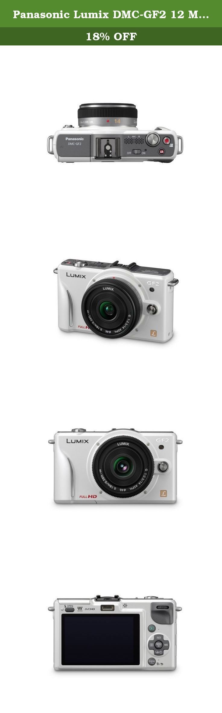 Panasonic Lumix DMC-GF2 12 MP Micro Four-Thirds Mirrorless Digital Camera with 3.0-Inch Touch-Screen LCD and 14mm f/2.5 G Aspherical Lens (White). The LUMIX GF2 is Panasonics signature DSL Micro Compact system camera in its mirrorless line-up. It's the smallest and lightest model offered by Panasonic, while still offering the superb image quality expected from LUMIX. Comparing to the GF1, its predecessor, the GF2 has been reduced approximately 19% in size and approximately 7% in weight…