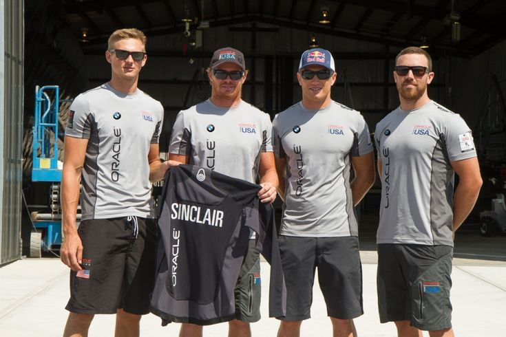 The ORACLE TEAM USA crew for the Louis Vuitton America's Cup World Series in Portsmouth (L-R) Kyle Langford, Tom Slingsby, Jimmy Spithill and Kinley Fowler. Louis Sinclair will join the crew in Portsmouth having just set a 24-hour distance record in the Transatlantic race on his way across the Atlantic!