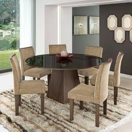 Conjunto Sala de Jantar com Mesa Redonda Tampo com Vidro e 6 Cadeiras Sem tampo giratório Chocolate/Vidro Preto/Pena Caramelo - LJ Móveis