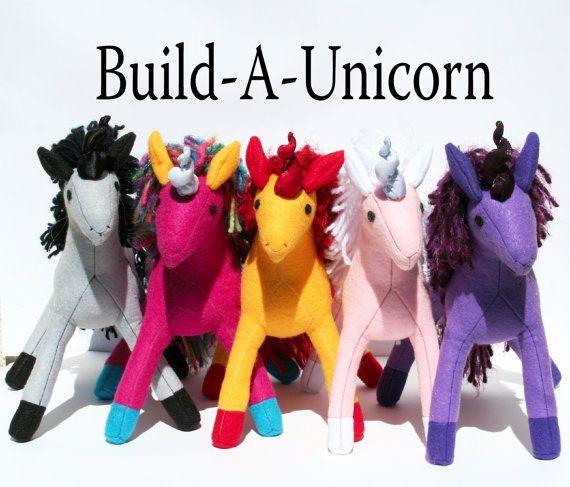 Build-A-Unicorn, Handmade Eco-Fi Felt Unicorn, Custom Made, Stuffed Animal, Plush, Fantasy, Toy, Made to Order, Kids Gift-  Anyone Gift!!!  Hell Yes!!!!!!!!!!!!!!!!
