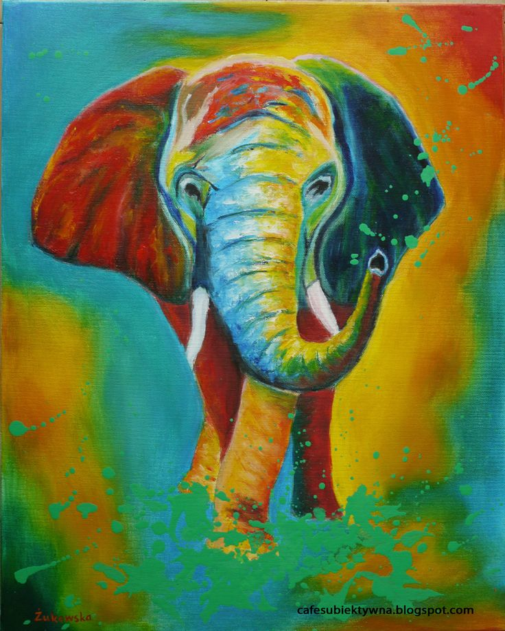 Colorful elephant. Oil painting by Żukowska