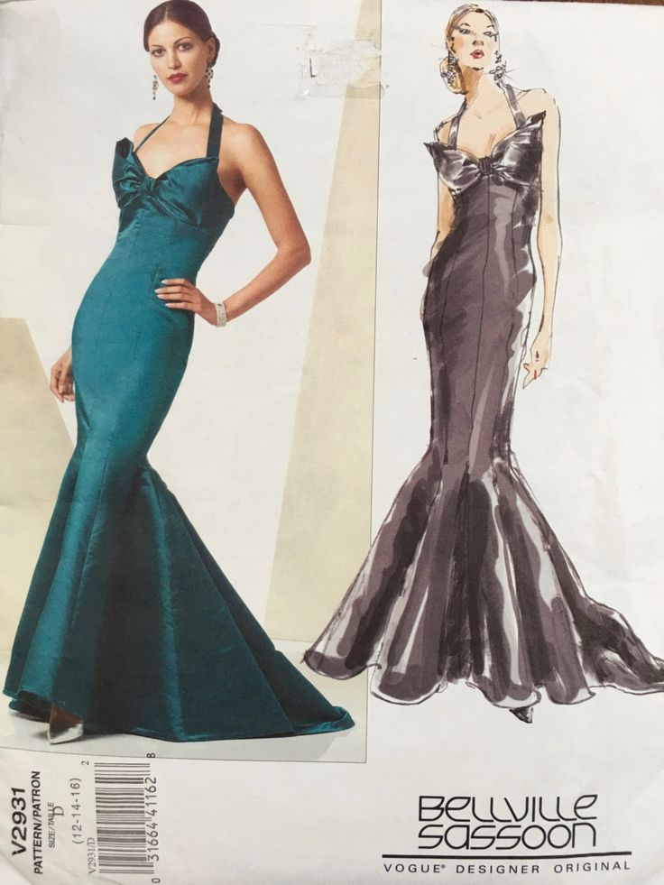 Vogue Patterns V2931 Size D 12-14-16  Body Hugging Dress Fabulous Fish Tail, Beville Sassoon designer original Wedding Dress, evening Dress by weseatree on Etsy