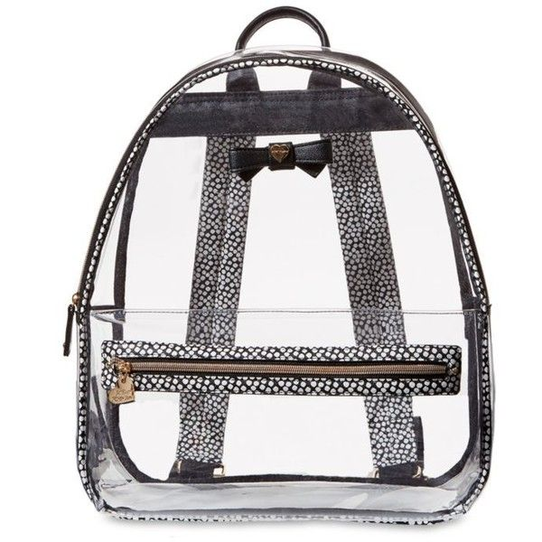 Betsey Johnson  Clear As Can Be Backpack (5.055 RUB) ❤ liked on Polyvore featuring bags, backpacks, dots, backpack bags, rucksack bags, daypack bag, dot backpack and betsey johnson